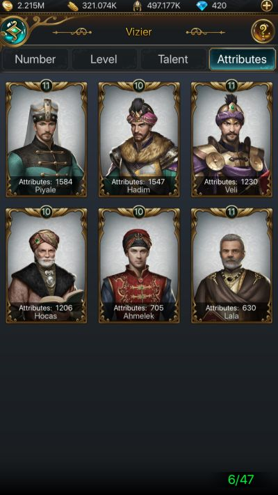 how to improve your viziers in game of sultans