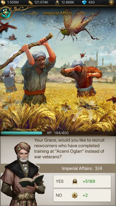 how to deal with imperial affairs in game of sultans