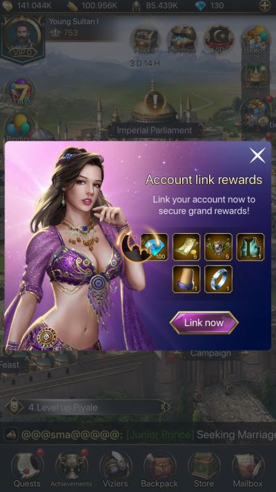 how to earn rewards in game of sultans