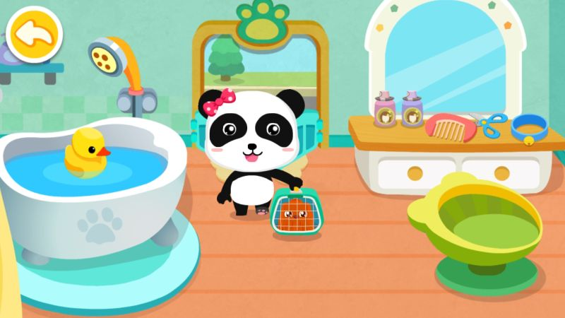 how to take care of pets in little panda's dream town