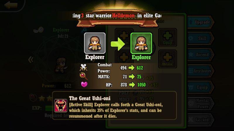 warrior saga warrior upgrade