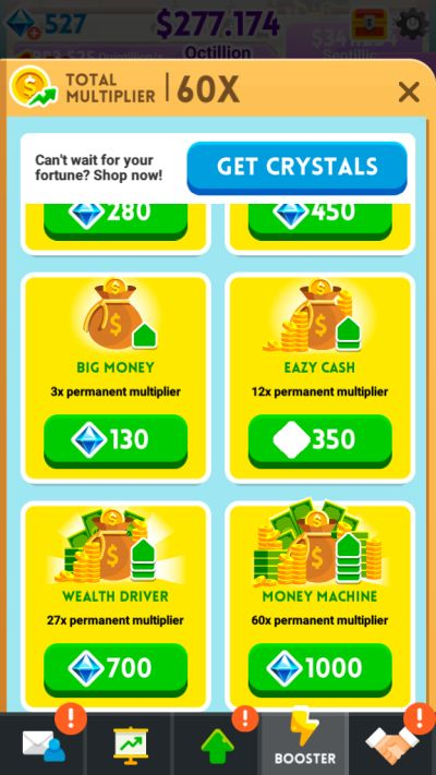 how to spend crystals in cash inc
