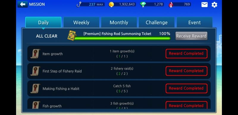 power fishing missions and rewards