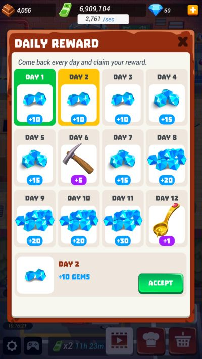 idle cooking tycoon daily rewards