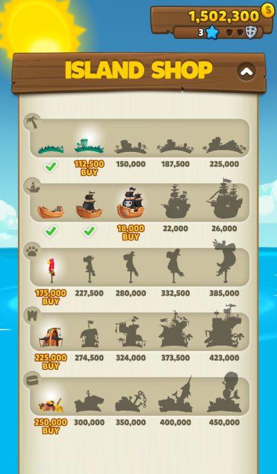 pirate kings island upgrades