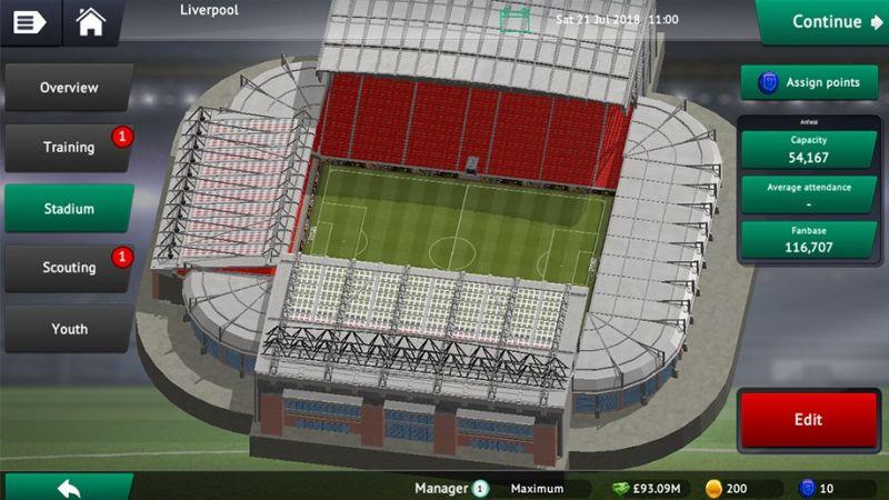 soccer manager 2019 stadium
