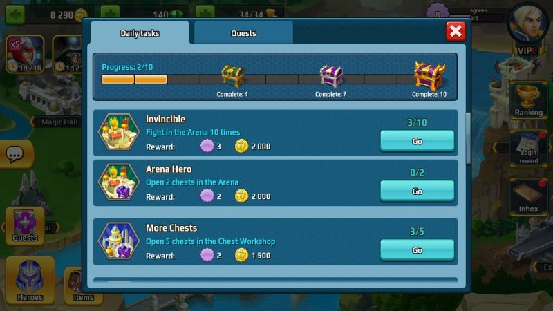 battle arena heroes adventure daily tasks