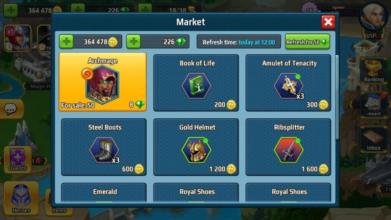 battle arena heroes adventure market