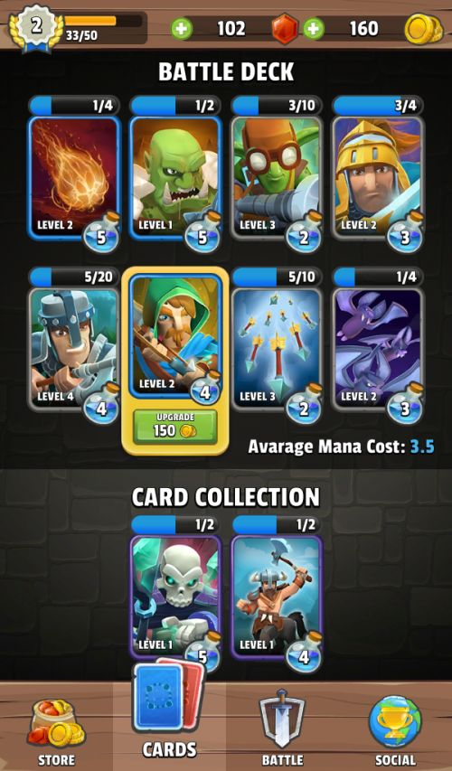 clash of wizards battle royale upgrading cards