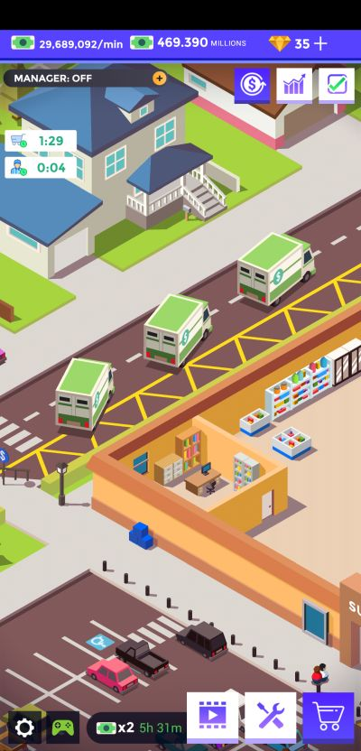 idle supermarket tycoon delivery trucks