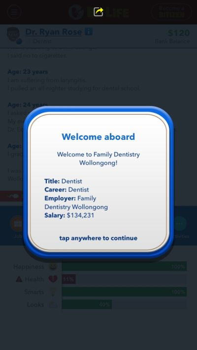 how to become a dentist in bitlife