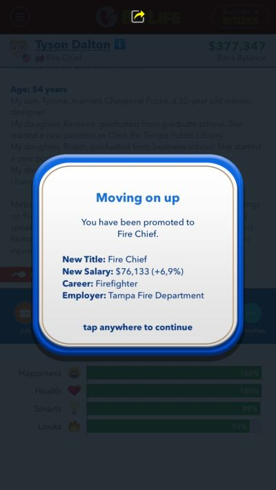 bitlife fire chief promotion