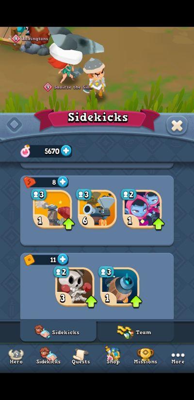 world of legends sidekicks