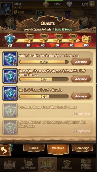 afk arena quests