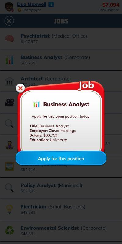 bitlife business analyst job