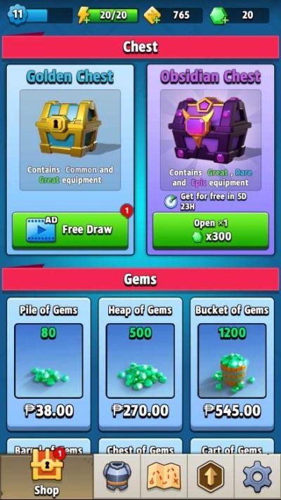 archero chest and gems
