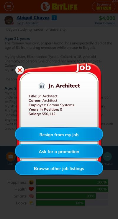 bitlife architect job