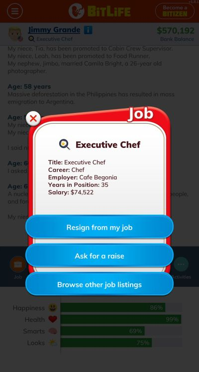 bitlife executive chef