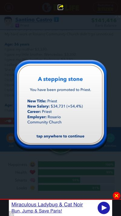 how to become a priest in bitlife