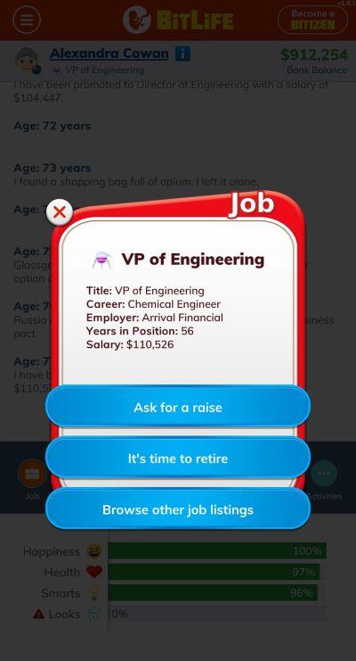 bitlife vp of engineering