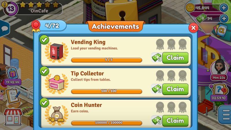 cafeland achievements
