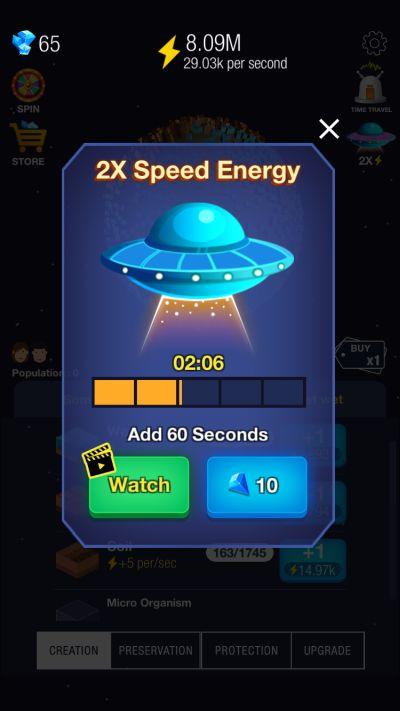 idle world 2x speed energy