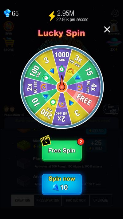 idle world lucky spin
