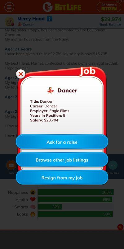 bitlife dancer job