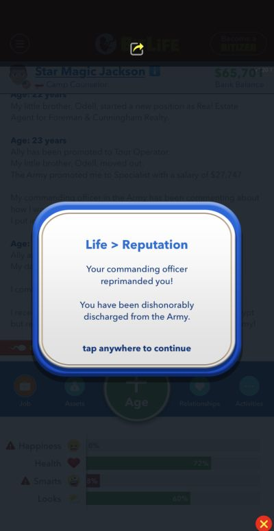 bitlife discharge from army