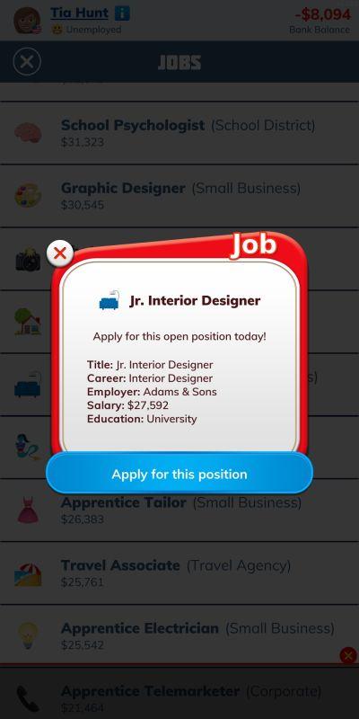 bitlife interior designer job