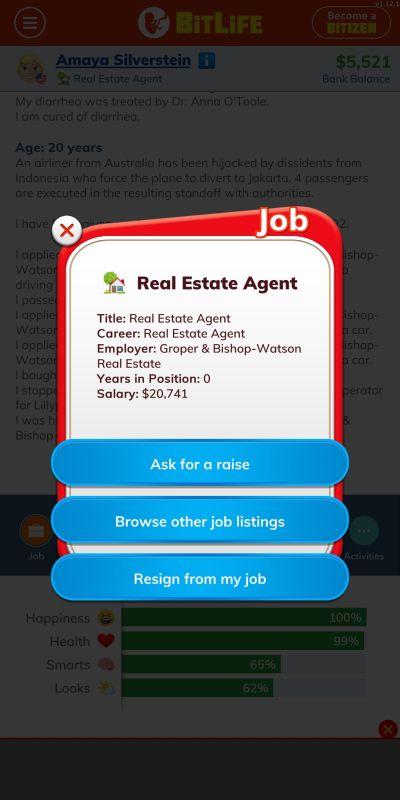 bitlife real estate agent job