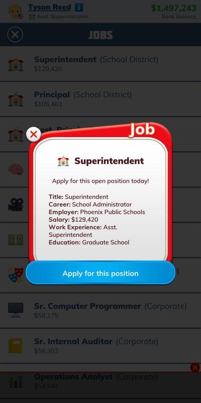 bitlife superintendent job