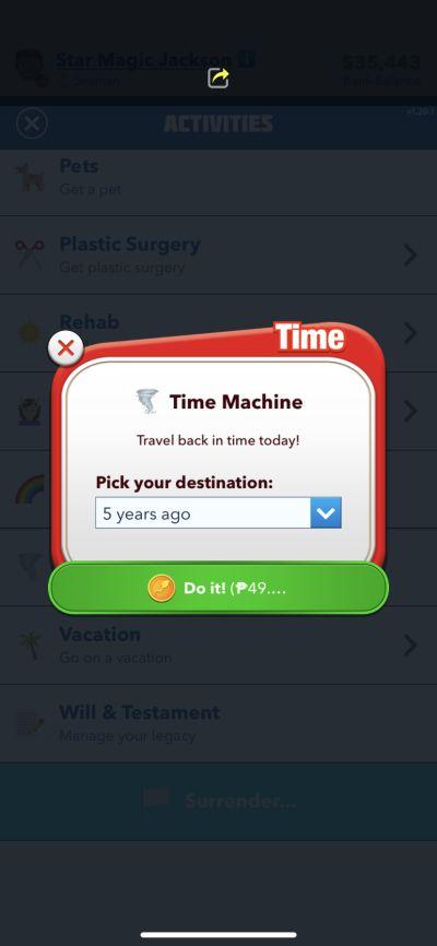 bitlife time machine