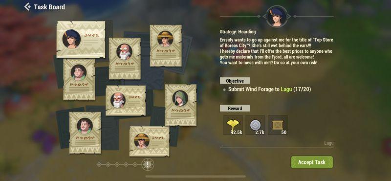 dawn of isles task board
