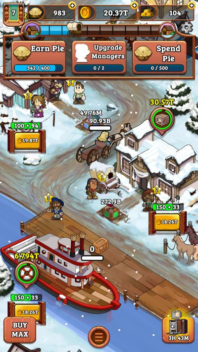 idle frontier tap town tycoon production line