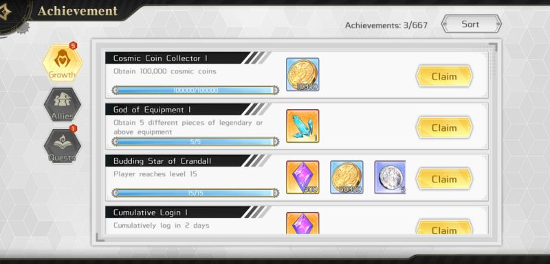 astral chronicles achievements