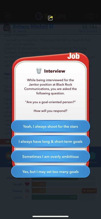 bitlife janitor interview