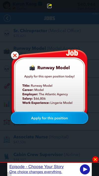 bitlife runway model job