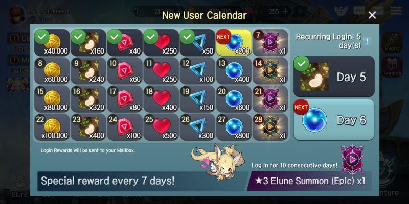elune daily rewards