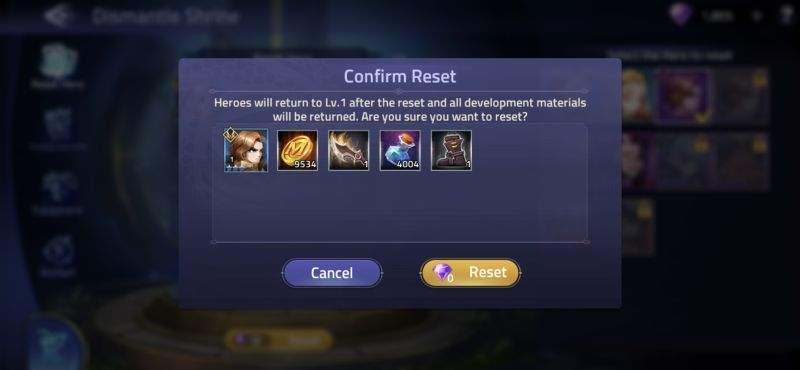mobile legends adventure reset