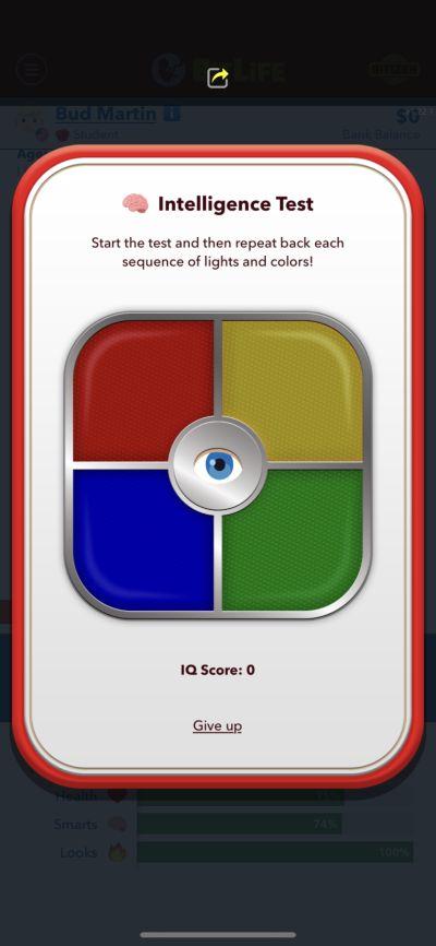 bitlife intelligence test mini-game