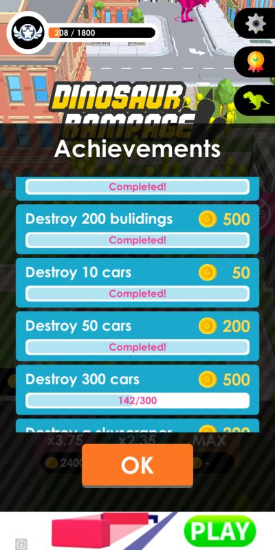 how to complete more achievements in dinosaur rampage
