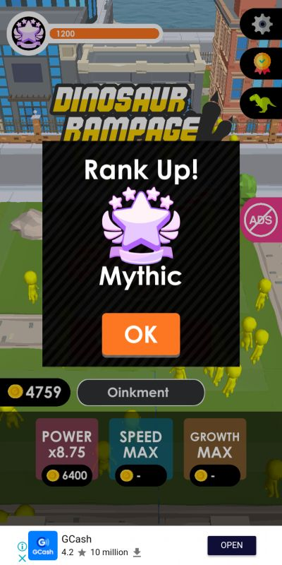 how to get mythic rank in dinosaur rampage