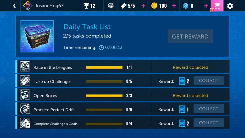 hot wheels infinite loop daily tasks