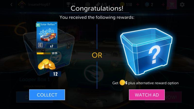 hot wheels infinite loop rewards