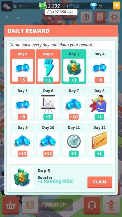 idle harbor tycoon daily rewards