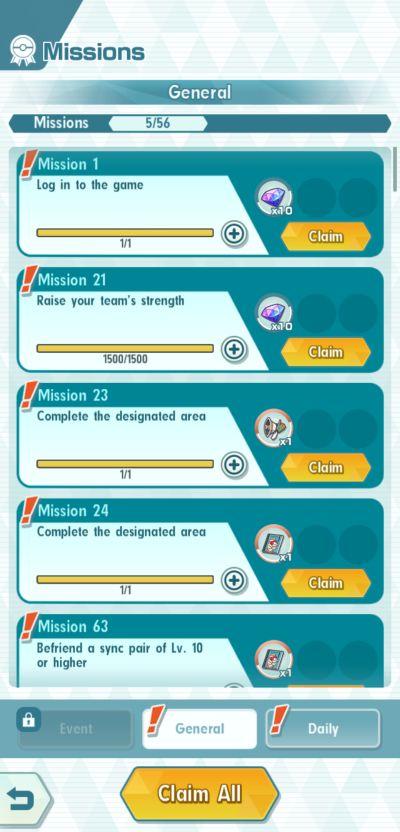 pokémon masters missions