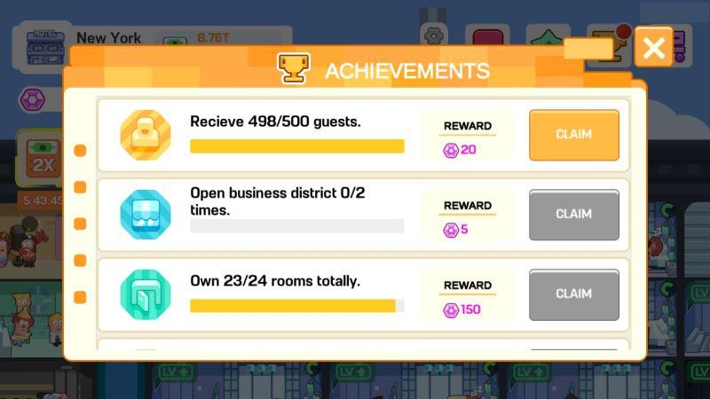 super hotel tycoon achievement rewards