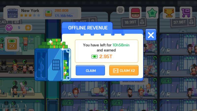 how to increase offline earnings in super hotel tycoon