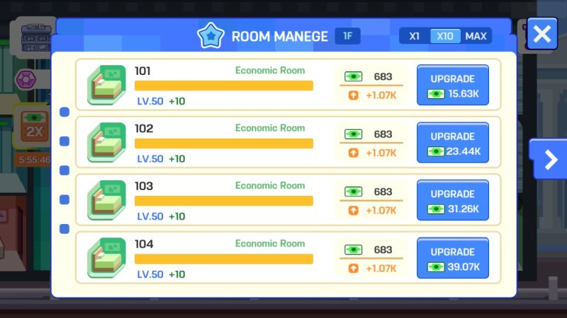 how to upgrade the bottom rooms in super hotel tycoon